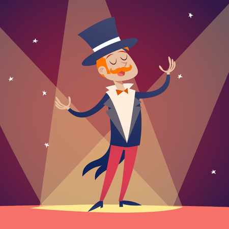 stylish: Circus Show Host Boy Man in Suit with Cylinder Hat Icon on Stylish Background Retro Cartoon Design Vector Illustration