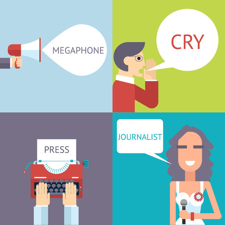 stylish boy: Mass Media Symbol Megaphone Speech Bubble Cry Man Boy Press Hand Typewriter Journalist Female Girl Icon on Stylish Background Modern Flat Design Template Vector Illustration Illustration