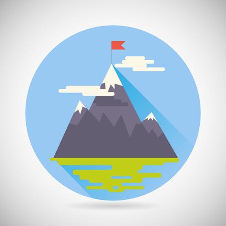 Réalisation Top Flag-Point Objectif Icône Symbole Montagne nuages ??herbe de la terre sur fond élégant Modern Flat Vector Design Illustration