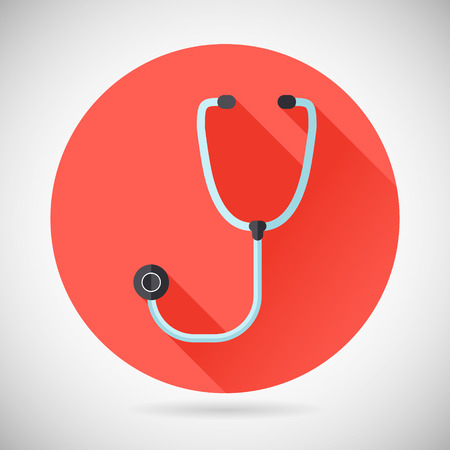 sound therapist: Physician Therapist Care Survey Symbol Stethoscope Icon on Stylish Background Modern Flat Design Vector Illustration