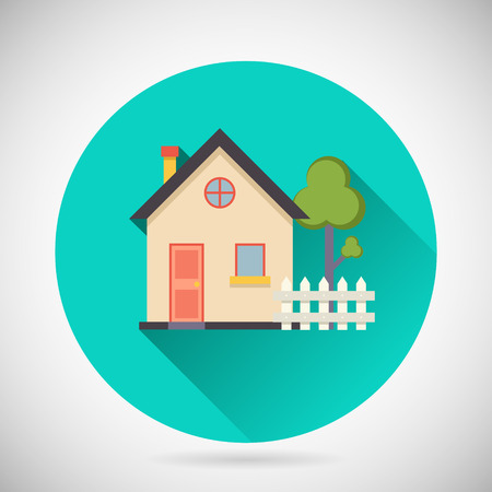 case moderne: Real Estate Simbolo Casa Immobiliare Costruzione Privato Albero Recinto Icona con una lunga ombra su sfondo Elegante Illustrazione Modern Flat Vector Design Vettoriali