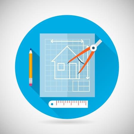 Engineering Planning Symbol Blueprint and Compass Divider Icon on Stylish Background Modern Flat Design Vector Illustration Stock Illustratie