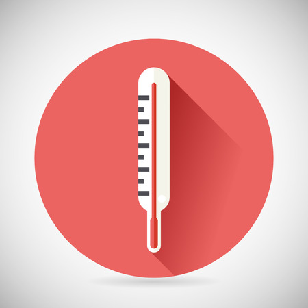 cold cure: Cold Cure DiseaseTreatment Symbol Medical Thermometer Icon with long shadow on Stylish Background Modern Flat Design Vector Illustration