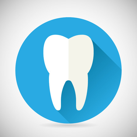 long recovery: Stomatology and Dental Treatment Symbol Tooth Icon with long shadow on Stylish Background Modern Flat Design Vector Illustration