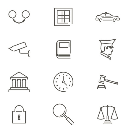 Flat Law Legal Justice Icons And Symbols Vector Illustration Royalty
