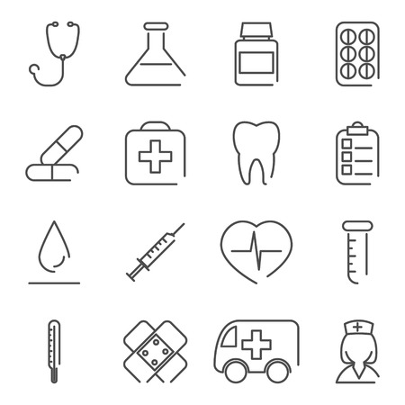 vial: Modern Line Medical Treatment Icons and Symbols Set for Mobile Interface Isolated Vector Illustration