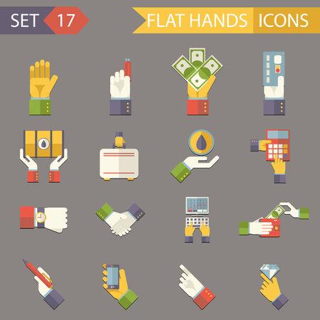 closed society: Retro Business Hands Symbols Finance Accessories Icons Set Trendy Modern Flat Design Template Vector Illustration Illustration