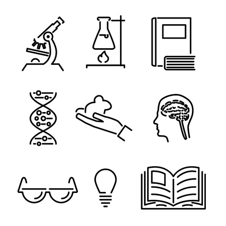 Modern Line Science Knowledge Study Icons and Symbols Set for Mobile Interface Isolated Vector Illustration Vector