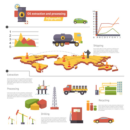 extraction: Oil Extraction and Processing Infographics Icons Symbols Modern Trendy Retro Flat Vector Illustration