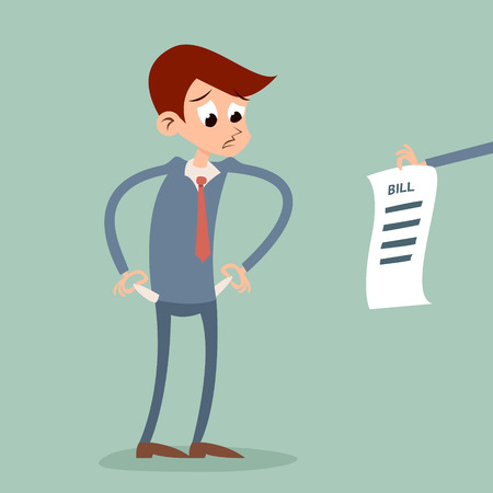 penniless: Out of money businessman cartoon character looking bill Icon on Stylish Background Retro Cartoon Design Vector Illustration