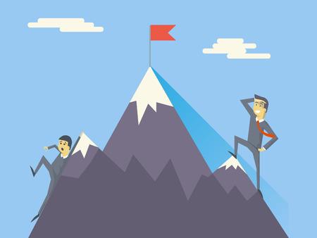 Businessman Characters Achievement Top Flag