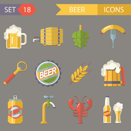 Retro Beer Alcohol Symbols Accessories Icons Set Trendy Modern Flat Design Template  Illustration