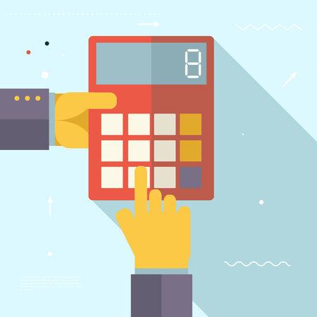 simbolos matematicos: Retro Manos del asunto con la ilustración de concepto de diseño Calculadora Financiera Asentamientos Símbolo Real Estate Ciudad moderna de moda plana de plantilla de vectores