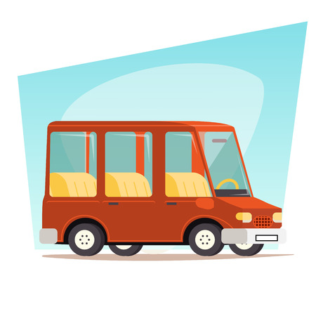 family van: Retro Cartoon Car Family Travel Van Illustration
