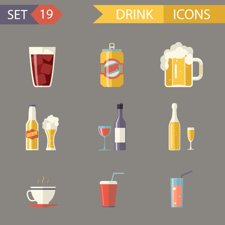 Retro Flat Alcohol Beer Juice Tea Wine Drink Icons and Symbols Set Illustration