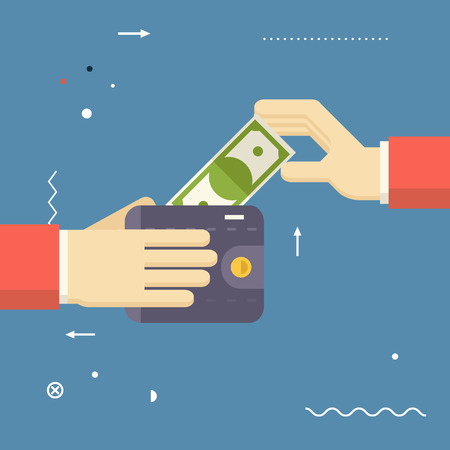 bribe: Payment Symbol Human Hands holding Banknote and Wallet on Stylish Background Modern Flat Design  Illustration