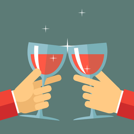 toasting wine: Victory Celebration Success and Prosperity Symbol Hands Holds a Glasses