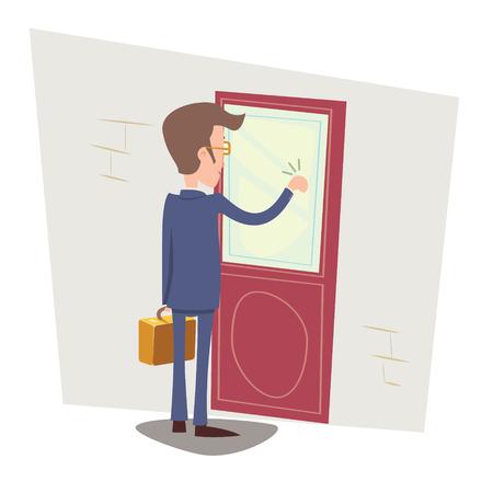 Oriented Glücklicher Geschäftsmann mit Aktenkoffer Klopfen an Kunden Tür auf stilvolle Hintergrund Retro Cartoon Vektor-Illustration