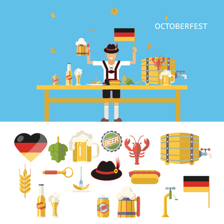 Retro Octoberfest Symbols Beer Alcohol Accessories Icons Set Trendy Modern Flat Design Template Vector Illustration  Vector