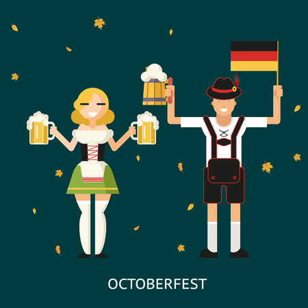 trendy male: Retro Oktoberfest Male and Female Characters in Traditional Costumes with Accessories Trendy Modern Flat Design Template Vector Illustration Concept