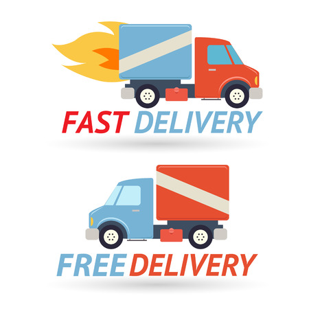 Fast Free Delivery Symbol Shipping Truck Icon Modern Flat Design Vector Illustration