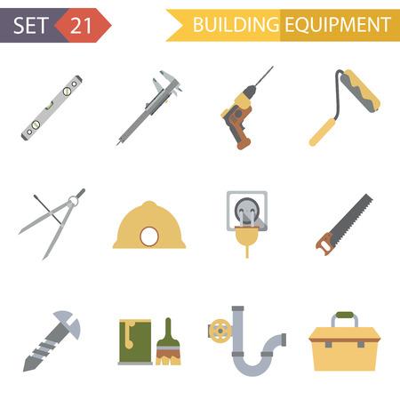 compasses: Retro Flat Building Equipment Icons and Construction Tools Symbols Set