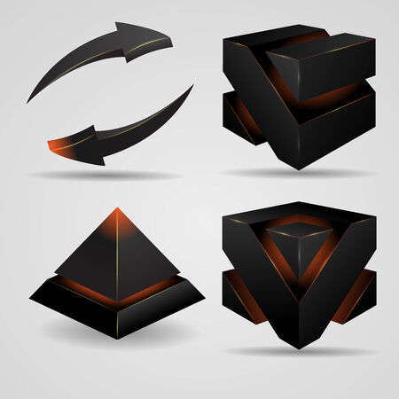 gloomy:  geometric abstract futuristic gloomy Gothic pyramid and cube rotating arrows