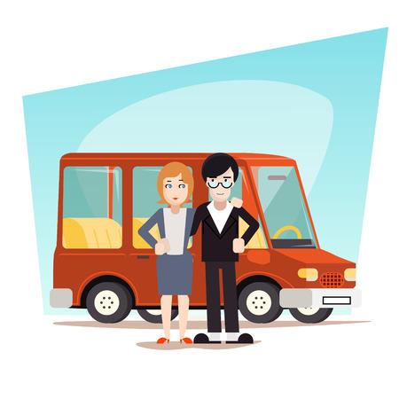 family van: Retro Cartoon Family with Car Travel Van Icon Modern Design Stylish Background Vector Illustration