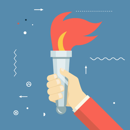 torch: Victory Flame Symbol Hand Hold Fire Torch Icon Template on Stylish Background Modern Flat Design Vector Illustration