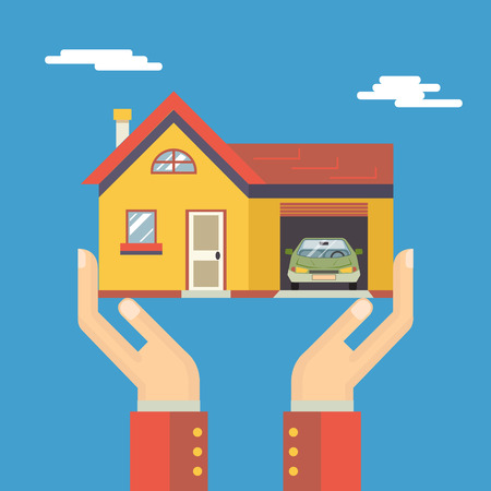 cottage house: Retro Human Hands with House Real Estate Modern Flat Design Concept Template Vector Illustration