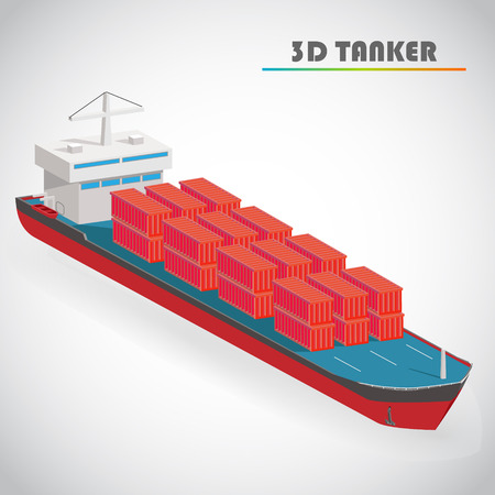 barge: Isometric 3d tanker with freight container icon