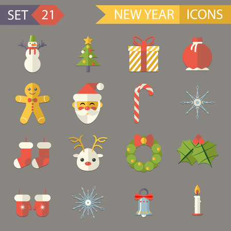 Flat Design New Year Symbols Christmas Accessories Icons Set Greeting Card Elements  Vector