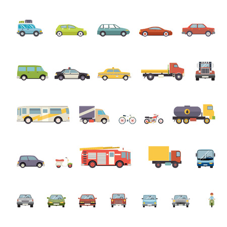 Modern Flat Design Transport Symbols Stylish Retro Car Icons