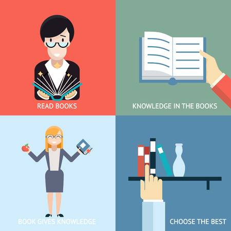 male teacher: Reading Books Signs and Symbols Icons Hands Characters Template on Stylish Background Modern Flat Design Illustration