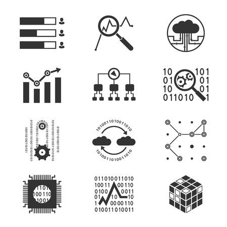 analytic: Silueta iconos anal�ticas de datos Vectores