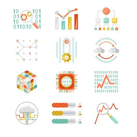 analytic: Data analytic silhouette icons