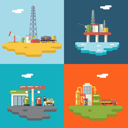 oil platform: Retro Flat Oil Icons and Symbols Concept