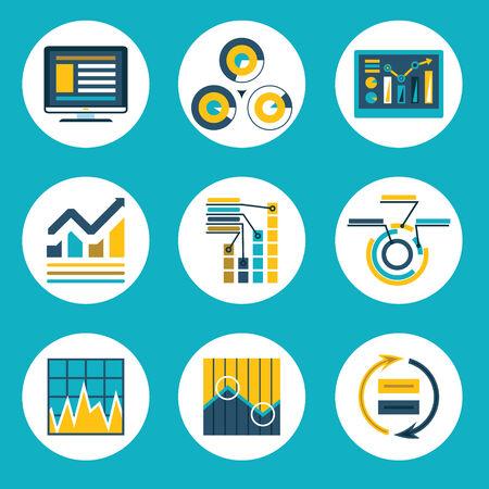 Dados Retro Plano Estilo Design Infographics Neg Banco de Imagens - 32517510