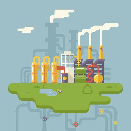 ressources naturelles: R�tro plat usine de raffinerie v�g�tale fabrication de produits en transformation des ressources naturelles avec les tuyaux du r�seau de distribution Concept illustration vectorielle