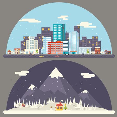 겨울 눈 도시 시골 풍경 도시 마을 부동산 새해 크리스마스 밤과 낮의 배경 현대 플랫 디자인 아이콘 템플릿 벡터 일러스트 레이 션 일러스트