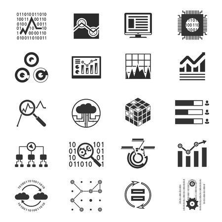 binary code: Data analytic silhouette icons