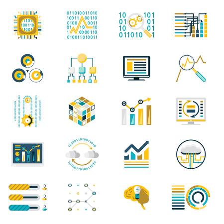 auditor�a: Procesamiento Almacenamiento de gran volumen de datos Ilustraci�n Iconos plantilla de dise�o Modern Flat