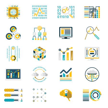 analytic: Processing Storage of Large Data Volume Icons Modern Flat Design Template Illustration