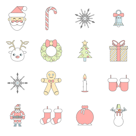 Flat Design New Year Symbols Christmas Accessories Icons Set Greeting Card Elements  Trendy Modern Template Vector Illustration Vector