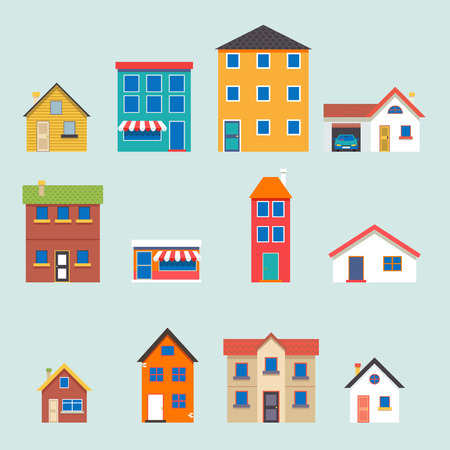 Modern trendy retro house street flat icons set vector illustration Illusztráció