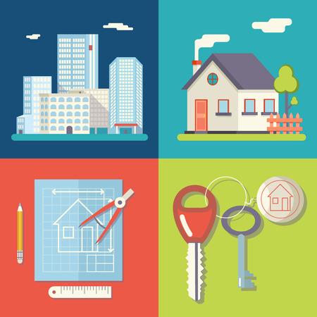 Retro Real Estate Symbols Private House Construction Plan Keys Set City Apartment Icons Trendy Modern Flat Design Template Vector Illustration Stock Illustratie