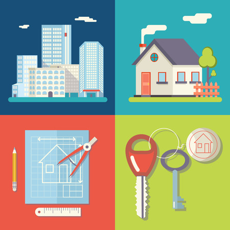 Retro Real Estate Symbols Private House Construction Plan Keys Set City Apartment Icons Trendy Modern Flat Design Template Vector Illustration Illusztráció