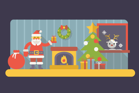 christmas room: New Year Room Santa Claus with Gift Box and Bag Christmas Accessories Icons Trendy Modern Flat Design Template Vector Illustration