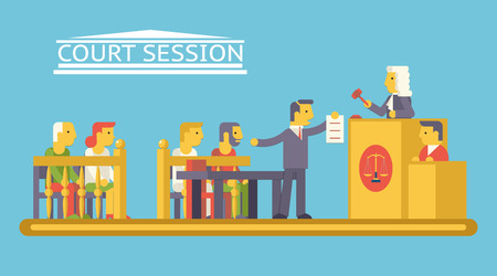 Law Court Justice Scene with Characters Defendant Ludge Lawyer Advocate Trendy Modern Flat Design Template Vector Illustration Vector