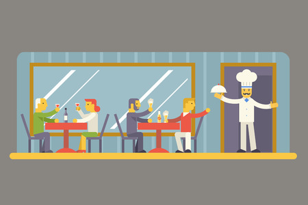 restaurant eating: Restaurant Cafe with Chef and Visitors Characters Symbol Food House Interior Icon on Stylish Background Modern Flat Design Vector Illustration